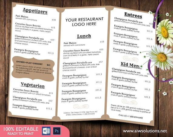 french menutemplates printable restaurant menu template. Black Bedroom Furniture Sets. Home Design Ideas
