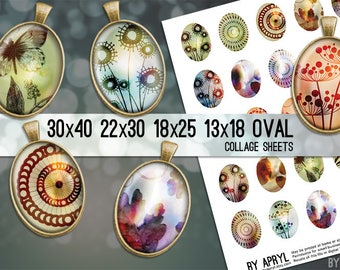Digital Collage Sheet Oval Leaf Flower Butterfly  30x40 22x30 18x25 13x18 Oval Digital Collage Images for Glass and Resin Pendant Cameo