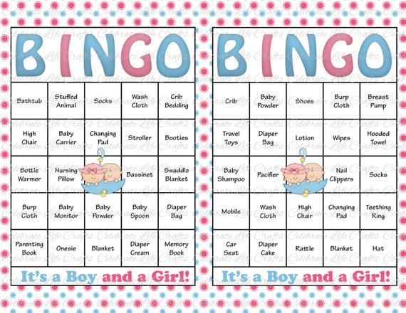 30 Baby Shower Bingo Cards Printable Party Baby Boy And Girl