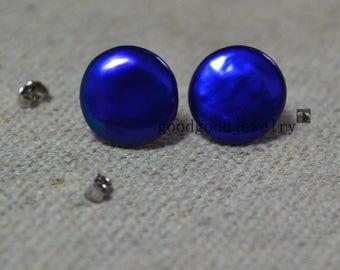 Navy Blue pearl earrings,Real Pearl stud Earrings,freshwater pearl earrings stud, 14mm coin pearl earrings, blue bead earrings, wedding