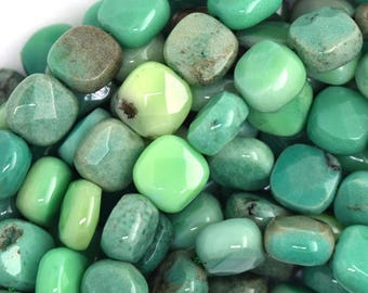 "10mm faceted green chrysoprase flat square beads 15.5"" strand 36606"