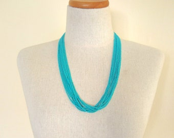 Turquoise necklace, teal, statement necklace, boho necklace, gift idea for women, multistrand, beaded necklace,aqua necklace,bridesmaid gift