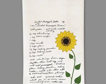 Custom Tea towel Handwritten Recipe Sentimental Gift Sunflower love mom's cooking mom recipes on tea towel beautiful