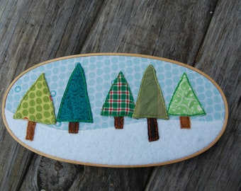 Christmas trees in snow- embroidered wall art