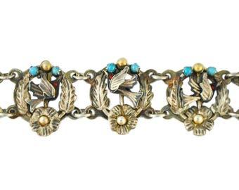 Antique Victorian Mexican Sterling Silver Bird Pajaritos Bracelet Guanajuato