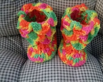 Day glow crocodile stitch booties