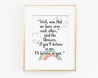 Pastel Nursery Art Print, Rainbow Wall Art, Believe In Yourself Inspirational Quote, Believe In Yourself Art Quote, Believe in Me, Download