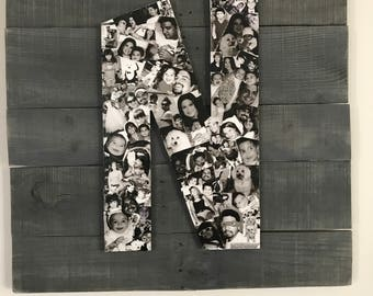 Pallet wall hanging with picture collage