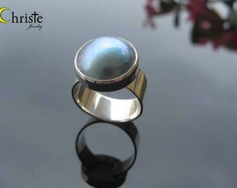 Blue Mabe Pearl Sterling Silver Ring wide ring band size 16