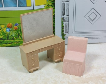 "MARX VANITY and CHAIR, 1950's, 1/2"" Scale, Contemporary Style Bedroom, Vintage Dollhouse Furniture"
