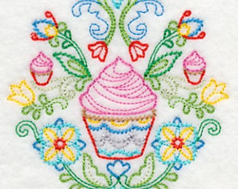 Swedish Folk Floral Design with cupcakes Embroidered Kitchen Towel
