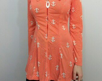 RARE 70s MOD SAILOR Nautical Print Mini Dress Size Small or Medium