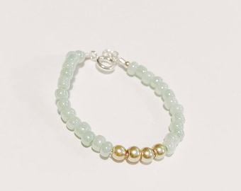 Light Mint and Gold Baby Bracelet/Accesssory