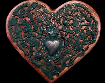 Green Milagros Heart, Mexican Milagro Charms, 5th Anniversary Gift, Wood Anniversary, Ex Voto Sacred Heart