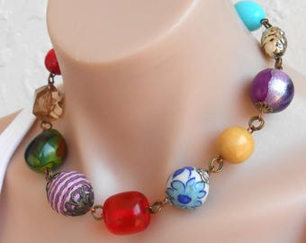 Chunky Necklaces Colorful Necklace Choker Statement Necklace Choker Large Beaded Necklace Gift for Her Necklaces for Women Free Shipping