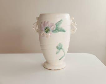 Weller Wild Rose Vase, White Background with Lavender/Pink Roses, Two Scroll Handles