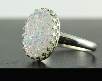 Ovale Druzy Ring - Silber Lünette - weiß Druse Quarzstein - Lünette - Drussy Edelstein-Ring - Alltag - April Birthstone