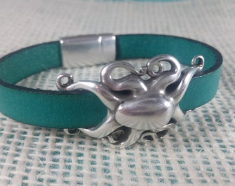 Leather Octopus Bracelet - Leather Jewelry - Beach Bracelet