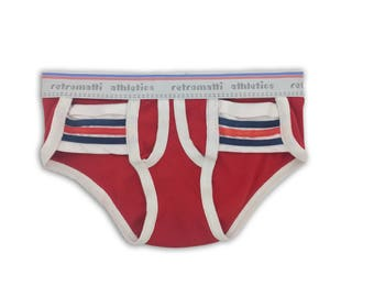 Retro Stripes Pocket Tanga Briefs in Red