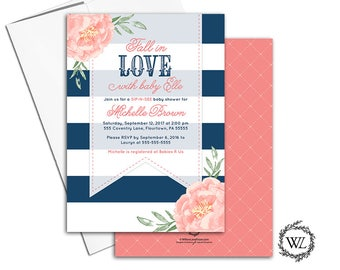 Fall baby shower invitations for girls, Autumn baby shower ideas, sip n see invitation for girls, coral, navy fall invites - WLP00799