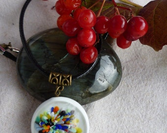 Multicolor flower Lampwork Glass necklace... A rainbow of colors