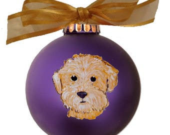 Goldendoodle Labradoodle Cutie Face Hand Painted Christmas Ornament - Can Be Personalized with Name