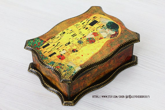 Klimt The Kiss Wooden Jewelry box Wood Jewelry Organizer