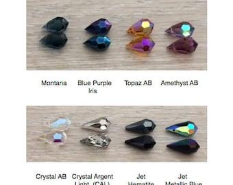 Preciosa Crystal Tear Drops, Crystal Drops, 15x9 mm, 4 pcs