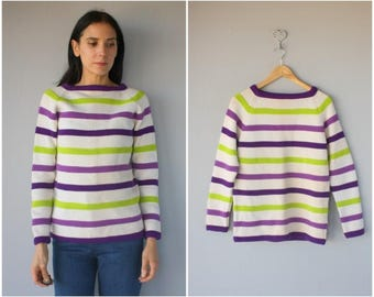 Vintage 1960s Striped Sweater • Wool Pullover • Boatneck Sweater • 60s Sweater  • Made In Italy- (xs/small)
