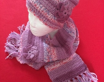 Handmade crochet winter hat and scarf