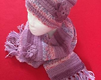 Handmade crochet winter hat and scarf