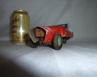 Tin and Wood Windup Primitive Toy Car Folk Art