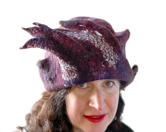 Dramatic Hat Jewel Toned Dark Purple Hat made of Hand Felted Merino Wool Statement Hat of Sculptural Wearable Art Artwear Gothic Purple Hat