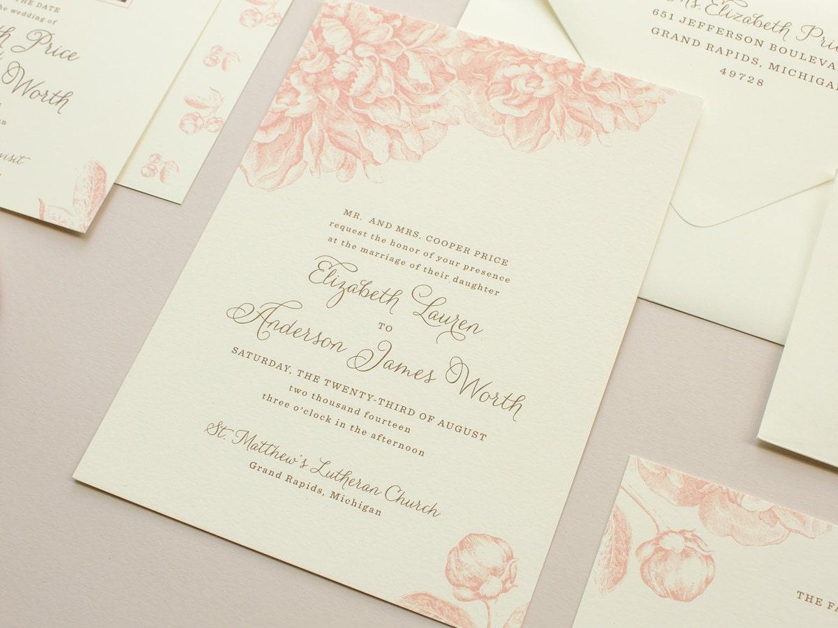 Pink Peonies Wedding Invitation Vintage Flowers Illustration