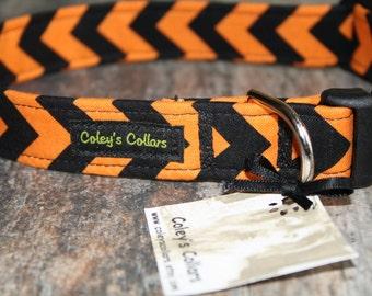 "Halloween Dog Collar, Chevron Dog Collar, Boy Dog Collar, Girl Dog Collar, Male Dog Collar, Female Dog Collar ""The Carlton Chevron"""