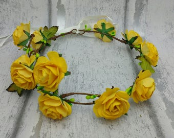 Yellow flower crown, yellow hair garland, rose hair wreath, festival, golden yellow roses, hair wreaths, flower girls, rose, halo, boho, sun