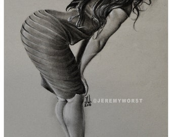 "JEREMY WORST  Look "" Sketch Artwork Signed Fine Art Print Great gift Sexy girl woman long hair hips figure"