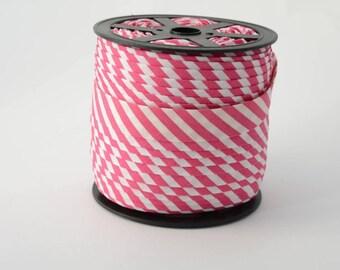 bias cotton binding stripes fuchsia 5mm 18mm