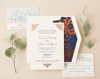 Wedding Invitation Sample: Cameron & Justin's Foil and Letterpress Custom Wedding Invitation