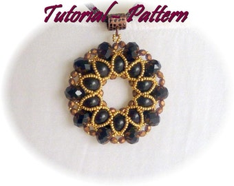 Beading pattern, tutorial for beaded pendant Xaveria with beaded bead, PDF instructions, step by step