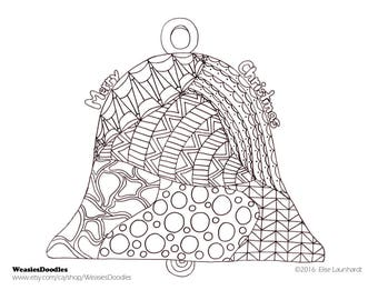 PDF Printable Colouring Page: Merry Christmas Bell