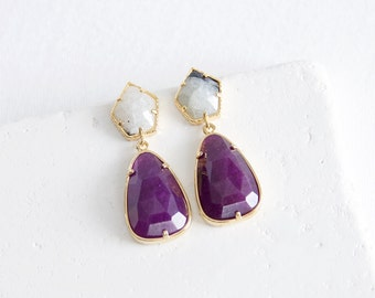 Gold Plated Purple Stone Earrings | stone drop earrings