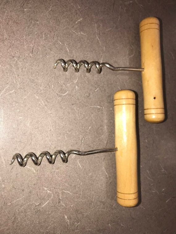 Traditional Wine Bottle Opener Cork Screw - Wooden Handle & Stainless Steel sommelier style - Set of TWO