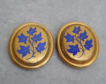 Antique Victorian Blue Enamel Gold Belt Buckles