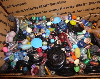 SALE ! Vintage Glass Beads - Small flat rate box full - lot 1 ,  beads , crafts , jewelry making , jewelry