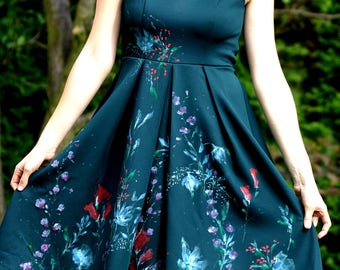 beautiful hand-painted dark green dress
