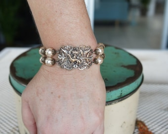 Antique Assemblage Bracelet with Ermine Focal and Glass Pearls