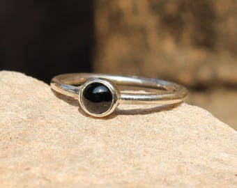 Natural Black Onyx Handmade Ring,  925 Sterling Silver Ring, Natural Black Onyx Ring