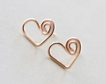 Heart Studs, Rose Gold Heart, Valentine, Bridesmaid, Love