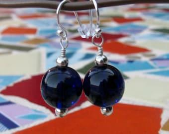 Big Beautiful Deep Cobalt Blue Glass and Silver Earrings